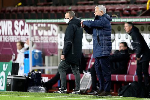 26th October 2020, Turf Moor, Burnley UK; EPL Premier League football, Burnley v Tottenham Hotspur; Trainer Tottenham Hotspur Manager Jose Mourinho checks his watch late in the game