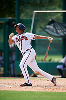 GCL Braves left fielder Christian Zamora (51) follows through on a swing during the first game of a doubleheader against the GCL Yankees West on July 30, 2018 at Champion Stadium in Kissimmee, Florida.  GCL Yankees West defeated GCL Braves 7-5.  (Mike Janes/Four Seam Images)
