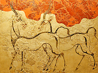 Antelopes fresco is sketched with strong, dark lines on a white plaster background in Acroteri, Thera, Greece (16th cent. B.C.)