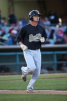 Matt Jones (19) of the Visalia Rawhide runs to first base during a game against the Lancaster JetHawks at The Hanger on May 7, 2016 in Lancaster, California. Lancaster defeated Visalia, 19-5. (Larry Goren/Four Seam Images)