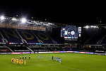 Players of Tigres UANL (MEX) and New York City FC (USA) observe a minute's silence as a mark of respect for Covid-19 victims prior their Scotiabank Concacaf Champions League match at the Orlando's Exploria Stadium on 15 December 2020, in Florida. Photo by Victor Fraile / Power Sport Images