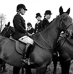 The Duke of Beaufort Hunt...The traditional Boxing Day Meet is held at Worcester Lodge, on the Badminton estate. It is usual for several hundred mounted followers and an equal number of foot followers to attend along with a TV crew or two, as well as a number of freelance photographers. Near Didmarton, Gloucestershire 2002...