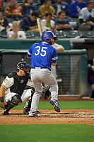 Shane Peterson (35) of the Oklahoma City Dodgers at bat against the Salt Lake Bees at Smith's Ballpark on July 31, 2019 in Salt Lake City, Utah. The Dodgers defeated the Bees 5-3. (Stephen Smith/Four Seam Images)