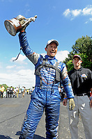 May 15, 2011; Commerce, GA, USA: NHRA funny car driver Jack Beckman celebrates after winning the Southern Nationals at Atlanta Dragway. Mandatory Credit: Mark J. Rebilas-