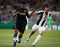 Football Soccer: UEFA Champions League semifinal second leg Juventus - Monaco, Juventus stadium, Turin, Italy,  May 9, 2017. <br /> Monaco's Jemerson (l) in action with Juventus' Gonzalo Higuain (r) during the Uefa Champions League football match between Juventus and Monaco at Juventus stadium, on May 9, 2017.<br /> UPDATE IMAGES PRESS/Isabella Bonotto