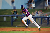 Charlotte Stone Crabs shortstop Lucius Fox (2) runs to second base during a game against the Palm Beach Cardinals on April 21, 2018 at Charlotte Sports Park in Port Charlotte, Florida.  Charlotte defeated Palm Beach 5-2.  (Mike Janes/Four Seam Images)