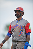 Dominican Republican third baseman Jose Reyes (7) during a Spring Training exhibition game against the Baltimore Orioles on March 7, 2017 at Ed Smith Stadium in Sarasota, Florida.  Baltimore defeated the Dominican Republic 5-4.  (Mike Janes/Four Seam Images)