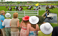 A group of spectators watch as horses make a jump during the Queen's Cup Steeplechase in Mineral Springs, NC.