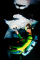 scuba diver and reef manta ray, Manta alfredi, feeding at night, Big Island, Hawaii, USA, Pacific Ocean