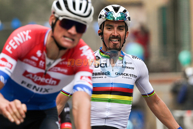 World Champion Julian Alaphilippe (FRA) Deceuninck-Quick Step outsprints Dutch Champion Mathieu Van Der Poel (NED) Alpecin Fenix to win Stage 2 of Tirreno-Adriatico Eolo 2021, running 202km from Camaiore to Chiusdino, Italy. 11th March 2021. <br /> Photo: LaPresse/Marco Alpozzi | Cyclefile<br /> <br /> All photos usage must carry mandatory copyright credit (© Cyclefile | LaPresse/Marco Alpozzi)