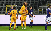 20190912 - Anderlecht , BELGIUM : Biik's players pictured celebrating Alina Litvinenko 's goal and 0-1 lead during the female soccer game between the Belgian Royal Sporting Club Anderlecht Dames  and BIIK Kazygurt from Shymkent in Kazachstan, this is the first leg in the round of 32 of the UEFA Women's Champions League season 2019-20120, Thursday 12 th September 2019 at the Lotto Park in Anderlecht , Belgium. PHOTO SPORTPIX.BE | DAVID CATRY