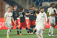 FOXBOROUGH, MA - NOVEMBER 1: Teal Bunbury #10 of New England Revolution celebrates his first goal of the night during a game between D.C. United and New England Revolution at Gillette Stadium on November 1, 2020 in Foxborough, Massachusetts.