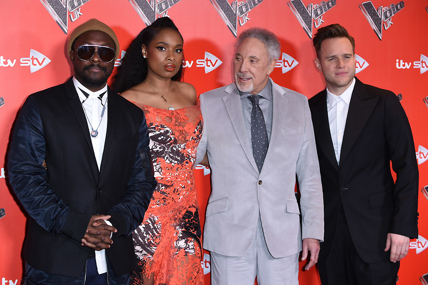 Will i Am, Jennifer Hudson, Sir Tom Jones and Olly Murs<br /> at the photocall for The Voice UK 2018 launch at Ham Yard Hotel, London<br /> <br /> <br /> ©Ash Knotek  D3366  03/01/2018