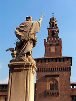 Statue of Saint John Nepomuceno on the parade gound inside Castello Sforzesco, Milan, Ital