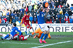St Johnstone v Rangers…..23.02.20   McDiarmid Park   SPFL<br />Stevie May reacts as the ball is played across the Rangers goalmouth but no-one makes contact<br />Picture by Graeme Hart.<br />Copyright Perthshire Picture Agency<br />Tel: 01738 623350  Mobile: 07990 594431