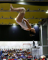 BARRANQUILLA - COLOMBIA, 23-07-2018: Mejias P de Puerto Rico durante su participación en gimnasia mujeres modalidad salto como parte de los Juegos Centroamericanos y del Caribe Barranquilla 2018. /  Mejias P of Puerto Rico during his participation in gymnastics women's jump category as a part of the Central American and Caribbean Sports Games Barranquilla 2018. Photo: VizzorImage / Cont