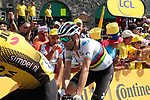 World Champion Alejandro Valverde (ESP) Movistar Team Team crosses the finish line in 12th place atop the Col du Tourmalet at the end of Stage 14 of the 2019 Tour de France running 117.5km from Tarbes to Tourmalet Bareges, France. 20th July 2019.<br /> Picture: Colin Flockton | Cyclefile<br /> All photos usage must carry mandatory copyright credit (© Cyclefile | Colin Flockton)