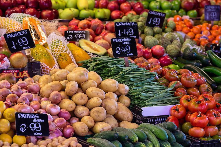 Fresh produce on display in La Boqueria market, Barcelona, Spain