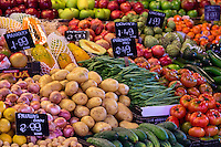 Fresh produce on display in La Boqueria market, Barcelona, Spain