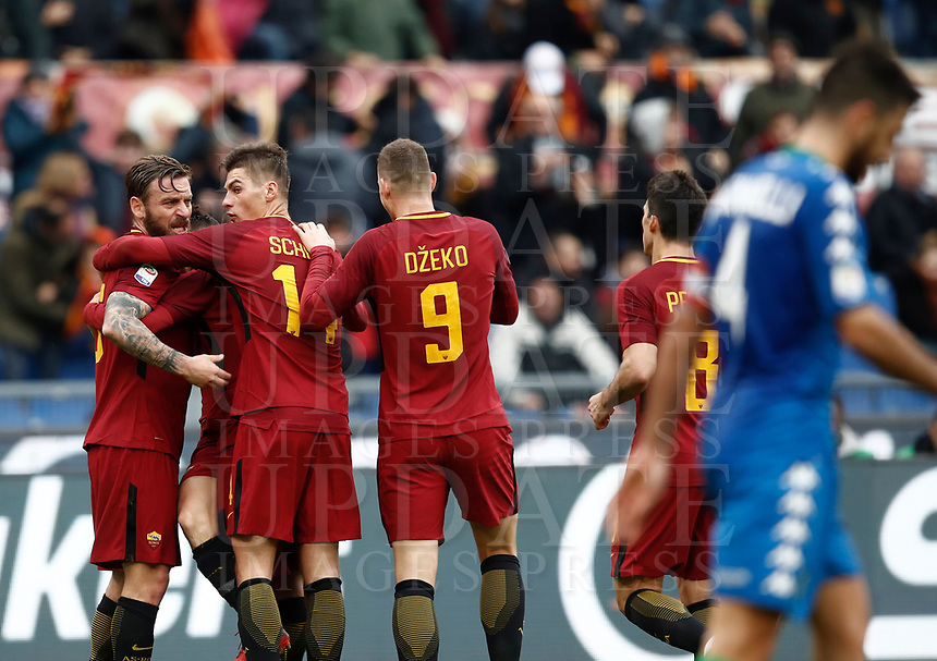 Calcio, Serie A: AS Roma - Sassuolo, Roma, stadio Olimpico, 30 dicembre 2017.<br /> Roma's Lorenzo Pellegrini celebrates with his teammates after scoring during the Italian Serie A football match between AS Roma and Sassuolo at Rome's Olympic stadium, 30 December 2017.<br /> UPDATE IMAGES PRESS/Isabella Bonotto
