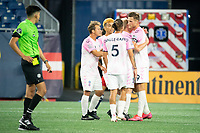 FOXBOROUGH, MA - SEPTEMBER 04: Forward Madison players celebrate their 4th goal of the night during a game between Forward Madison FC and New England Revolution II at Gillette Stadium on September 04, 2020 in Foxborough, Massachusetts.