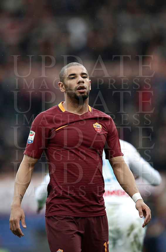 Roma's Bruno Peres reacts during the Italian Serie A football match between Roma and Napoli at Rome's Olympic stadium, 4 March 2017. <br /> UPDATE IMAGES PRESS/Isabella Bonotto