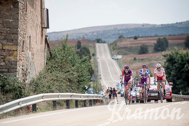 breakaway group consisting of: Polka Dot Jersey / KOM leader Ángel Madrazo (ESP/Burgos-BH), Jetse Bol (NED/Burgos-BH) & José Herrada (ESP/Cofidis)<br /> <br /> Stage 5: L'Eliana to Observatorio Astrofísico de Javalambre (171km)<br /> La Vuelta 2019<br /> <br /> ©kramon