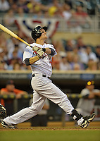 29 September 2012: Minnesota Twins first baseman Justin Morneau in action against the Detroit Tigers at Target Field in Minneapolis, MN. The Tigers defeated the Twins 6-4 in the second game of their 3-game series. Mandatory Credit: Ed Wolfstein Photo