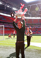 29th May 2021; Wembley Stadium, London, England; English Football League Championship Football, Playoff Final, Brentford FC versus Swansea City; Brentford Manager Thomas Frank lifts the Sky Bet EFL Championship Plays-off Trophy and their 2-0 win and promotion to the Premier League