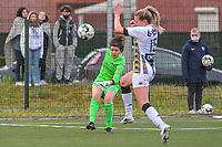 goalkeeper Maren van Wijngaarden (50) of KRC Genk pictured during a female soccer game between Sporting Charleroi and Eendracht Aalst on the 8th matchday in play off 2 of the 2020 - 2021 season of Belgian Scooore Womens Super League , tuesday 18 th of May 2021 in Marcinelle , Belgium . PHOTO SPORTPIX.BE | SPP | STIJN AUDOOREN