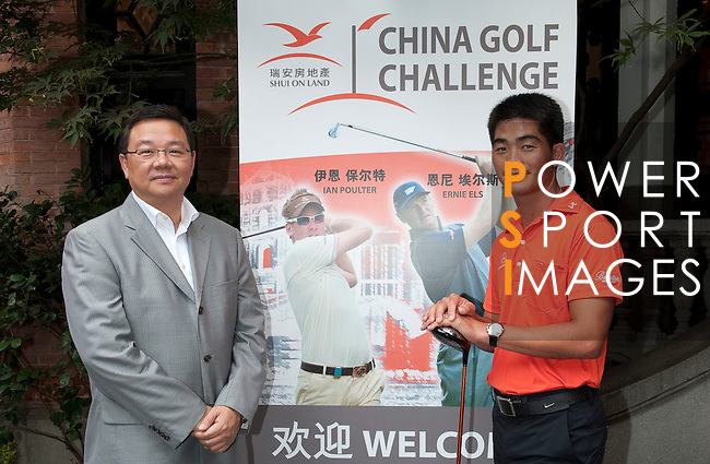 Freddy Lee Managing Director and CEO Shui On Land and Liang Wen-Chong China no1 golf player pose after the press conference ahead the China Golf Challenge on August 29, 2011 in Shanghai, China. Photo by © Victor Fraile / The Power of Sport Images for Fast Track / Infinite Ideas International