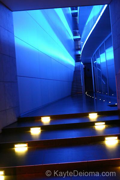 Hallway of a modern office building near Hackischermarkt at night.  Berlin, Germany
