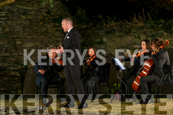 Dr Gavan Ring performs with the RTE Contempo Quartet in the ruins of the Holy Cross Abbey in Cahersiveen for the Cahersiveen Festival of Music, with the recording going out on Friday 31st July on the Festivals Facebook Page at 7:30pm, pictured back l-r; Bogdan Sofei, Ingrid Nicola, Andreea Baciu & Adrian Mantu.