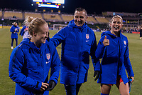 COLUMBUS, OH - NOVEMBER 07: Emily Sonnett #14, Vlatko Andonovski, and Abby Dahlkemper #6 of the United States walk off the field during a game between Sweden and USWNT at Mapfre Stadium on November 07, 2019 in Columbus, Ohio.