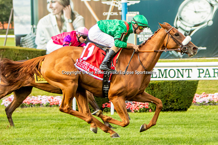 SEPT 07, 2019 :   Edisa with Flavien Prat, wins the $750,000 Jockey Club Oaks  Invitational Stakes, for 3 year old fillies going 1 3/8 mile on turf, at Belmont Park, in Elmont, NY, Sept 7, 2019.  Sue Kawczynski_ESW_CSM,