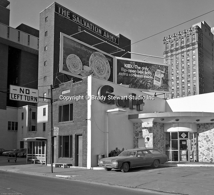 Pittsburgh PA:  View of the unique Gulf Service station at the corner of Grant Street and the Boulevard of the Allies in Pittsburgh.  This photographic assignment was for a local Real Estate Agent trying to sell the property.