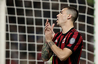 Calcio, Serie A: Milano, stadio Giuseppe Meazza, 15 ottobre 2017.<br /> Milan's Alessio Romagnoli reacts during the Italian Serie A football match between Inter and Milan at Giuseppe Meazza (San Siro) stadium, October15, 2017.<br /> UPDATE IMAGES PRESS/Isabella Bonotto