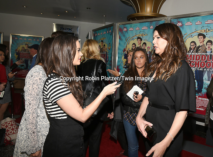 """Emily Brozyna, Morgan McMurrin and Lauren Graham attend the """"Middle School: The Worst Years of My Life"""" New York Screening on October 1, 2016 at the Regal E-Walk in New York, New York, USA.<br /> <br /> photo by Robin Platzer/Twin Images<br />  <br /> phone number 212-935-0770"""
