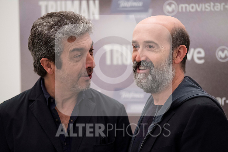 """Argentinian actor Ricardo Darin and spanish actor Javier Camara during the presentation of the film """"Truman"""" at NH Tepa´s Palace in Madrid October 26, 2015. <br /> (ALTERPHOTOS/BorjaB.Hojas)"""