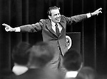 37th President of the United States  Richard M. Nixon give victory sign, Richard Nixon was born in Yorba Linda California and attended Whittier College and Duke University law school, US Navy House of Representatives and United States Senate, Vice President under Dwight D. Eisenhower, Impeachment for his role in Watergate scandal,