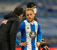 19th December 2020 The John Smiths Stadium, Huddersfield, Yorkshire, England; English Football League Championship Football, Huddersfield Town versus Watford;  Alex Pritchard coming on as a substitute and receiving instructions from Carlos Corberán