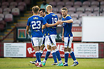 Arbroath v St Johnstone…21.07.21  Gayfield Park<br />David Wotherspoon celebrates his second goal of the night<br />Picture by Graeme Hart.<br />Copyright Perthshire Picture Agency<br />Tel: 01738 623350  Mobile: 07990 594431