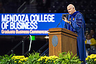 May 19, 2018; William Goodyear, former Chairman and CEO of Navigate Consulting, delivers the Commencement address during the Mendoza College of Business Graduate Business Commencement Ceremony at the Purcell Pavilion. (Photo by Barbara Johnston/University of Notre Dame)