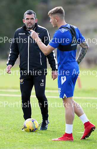 St Johnstone Training….McDiarmid Park, Perth.<br />Manager Callum Davidson pictured during training ahead of Saturday's game at Motherwell with Callum Hendry<br />Picture by Graeme Hart.<br />Copyright Perthshire Picture Agency<br />Tel: 01738 623350  Mobile: 07990 594431