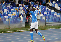 26th September 2021; Maradona Stadium, Naples, Italy; Serie A football, Napoli versus Cagliari :  Victor Osimhen of Napoli celebrates after scoring his goal for 1 -0 - in 11th minute