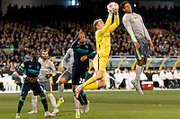 Melbourne, 24 July 2015 - Joe Hart of Manchester City catches the ball in game three of the International Champions Cup match between Manchester City and Real Madrid at the Melbourne Cricket Ground, Australia. Real Madrid def City 4-1. (Photo Sydney Low / AsteriskImages.com)