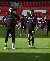 4th May 2021; The Valley, London, England; English Football League One Football, Charlton Athletic versus Lincoln City; Walsh and Edun of Lincoln warm up before the game start