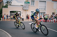 Yoann Offredo (FRA/Wanty-Groupe Gobert) in the day's breakaway having a cookie along the way<br /> <br /> Stage 1: Noirmoutier-en-l'Île > Fontenay-le-Comte (189km)<br /> <br /> Le Grand Départ 2018<br /> 105th Tour de France 2018<br /> ©kramon