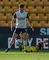 Preston North End's Josh Harrop (left) holds off the challenge from Norwich City's KennyMcLean (right) <br /> <br /> Photographer David Horton/CameraSport<br /> <br /> The EFL Sky Bet Championship - Norwich City v Preston North End - Saturday 19th September 2020 - Carrow Road - Norwich<br /> <br /> World Copyright © 2020 CameraSport. All rights reserved. 43 Linden Ave. Countesthorpe. Leicester. England. LE8 5PG - Tel: +44 (0) 116 277 4147 - admin@camerasport.com - www.camerasport.com