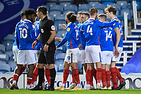 Sean Raggett of Portsmouth (20)right  is congratulated on scoring the first goal by captain Tom Naylor of Portsmouthduring Portsmouth vs Oxford United, Sky Bet EFL League 1 Football at Fratton Park on 24th November 2020